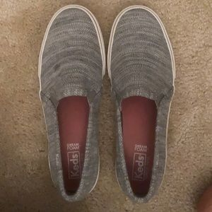 Keds slip on gray shoes
